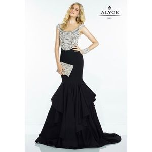 Alyce Paris Pearl Accented Tiered Dress